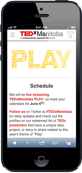 TEDxManitoba website on iPhone screenshot