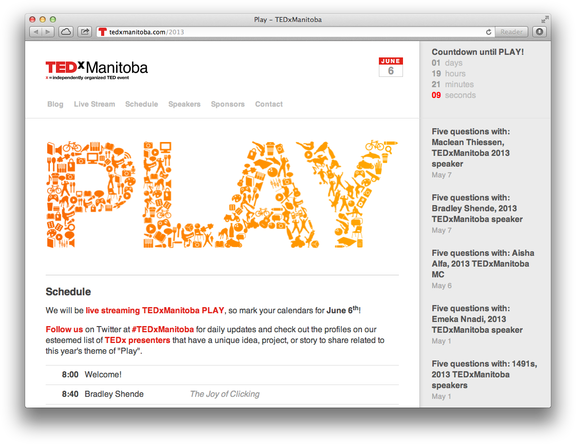 TEDxManitoba website screenshot